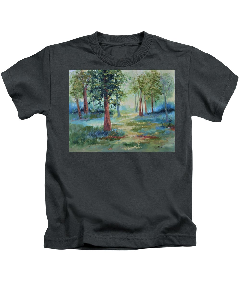 Trees Kids T-Shirt featuring the painting A Path Not Taken by Ginger Concepcion