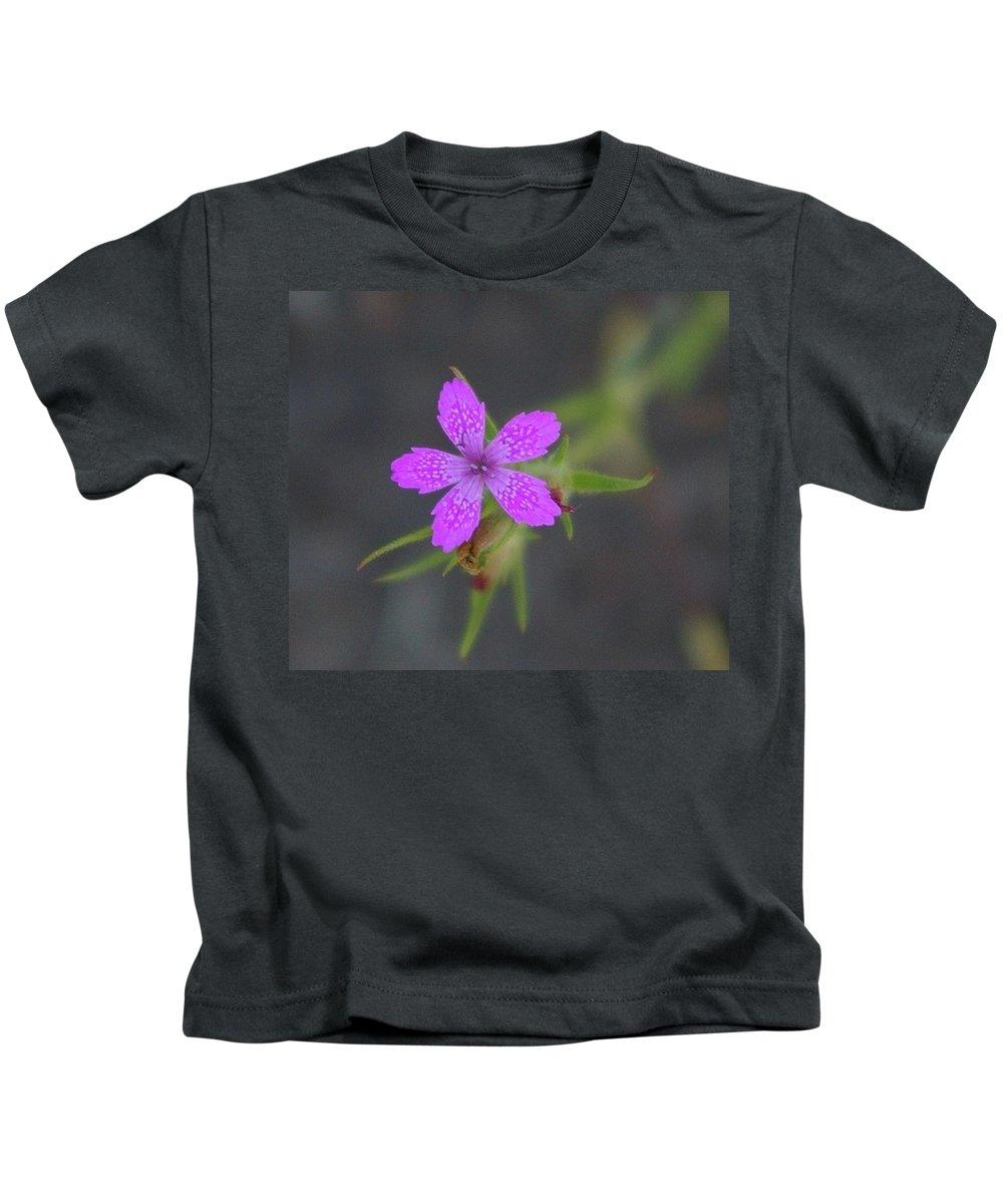 Floral Kids T-Shirt featuring the photograph A Perky Little Blossom by Jeff Swan