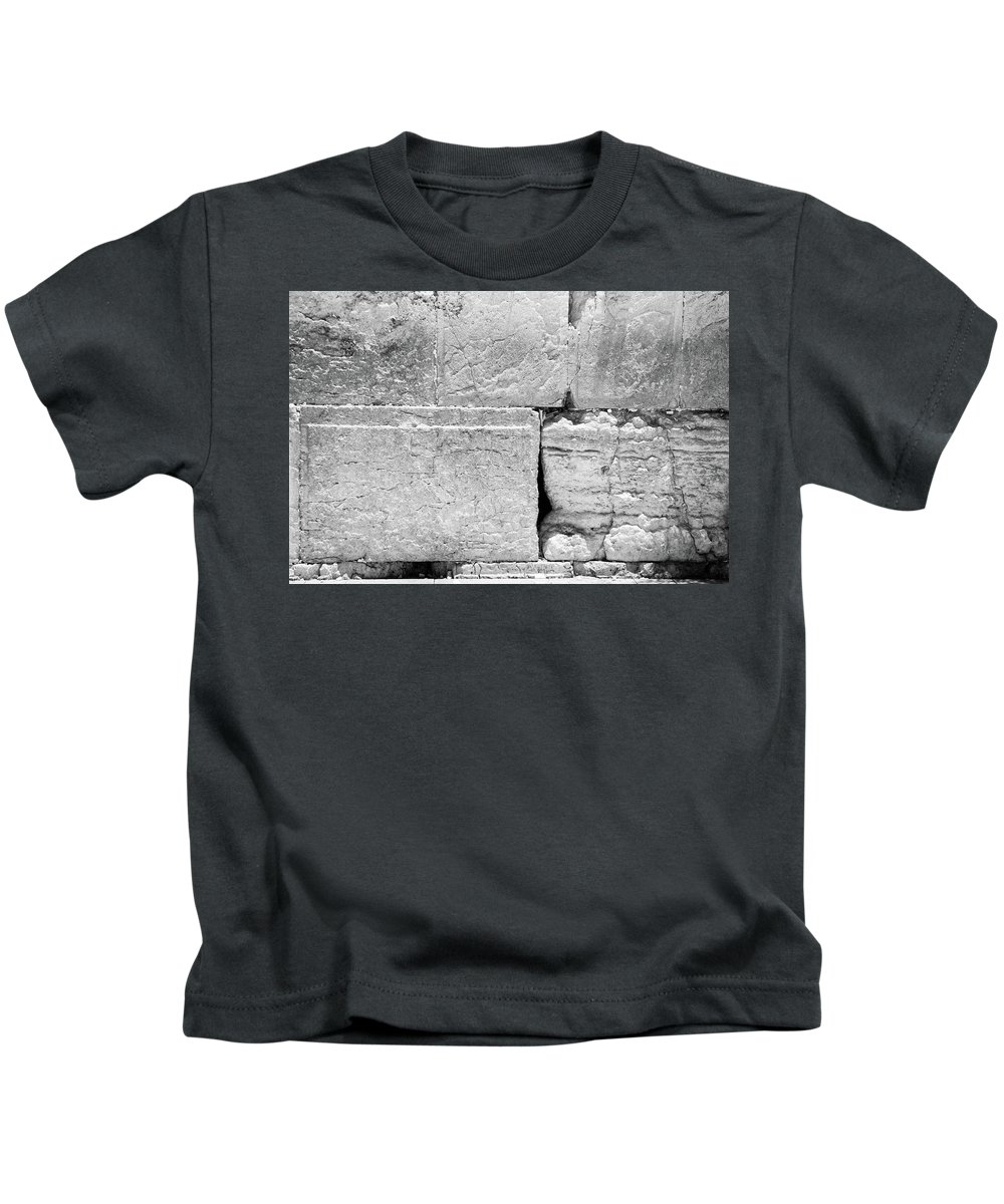 Wailing Kids T-Shirt featuring the photograph A Piece Of The Wailing Wall In Black And White by Yoel Koskas