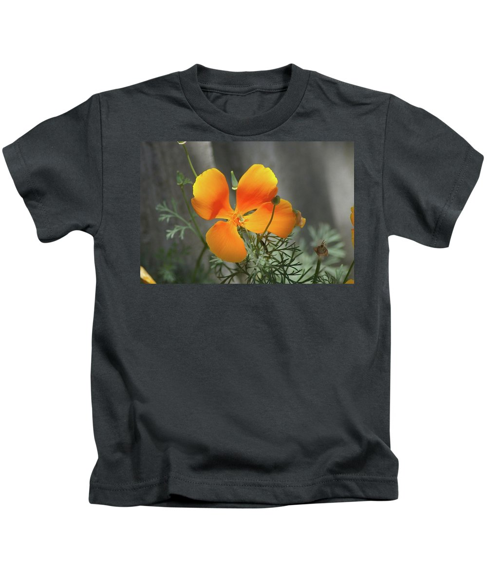 Floral Kids T-Shirt featuring the photograph A Poppy Unfurled by Jeff Swan