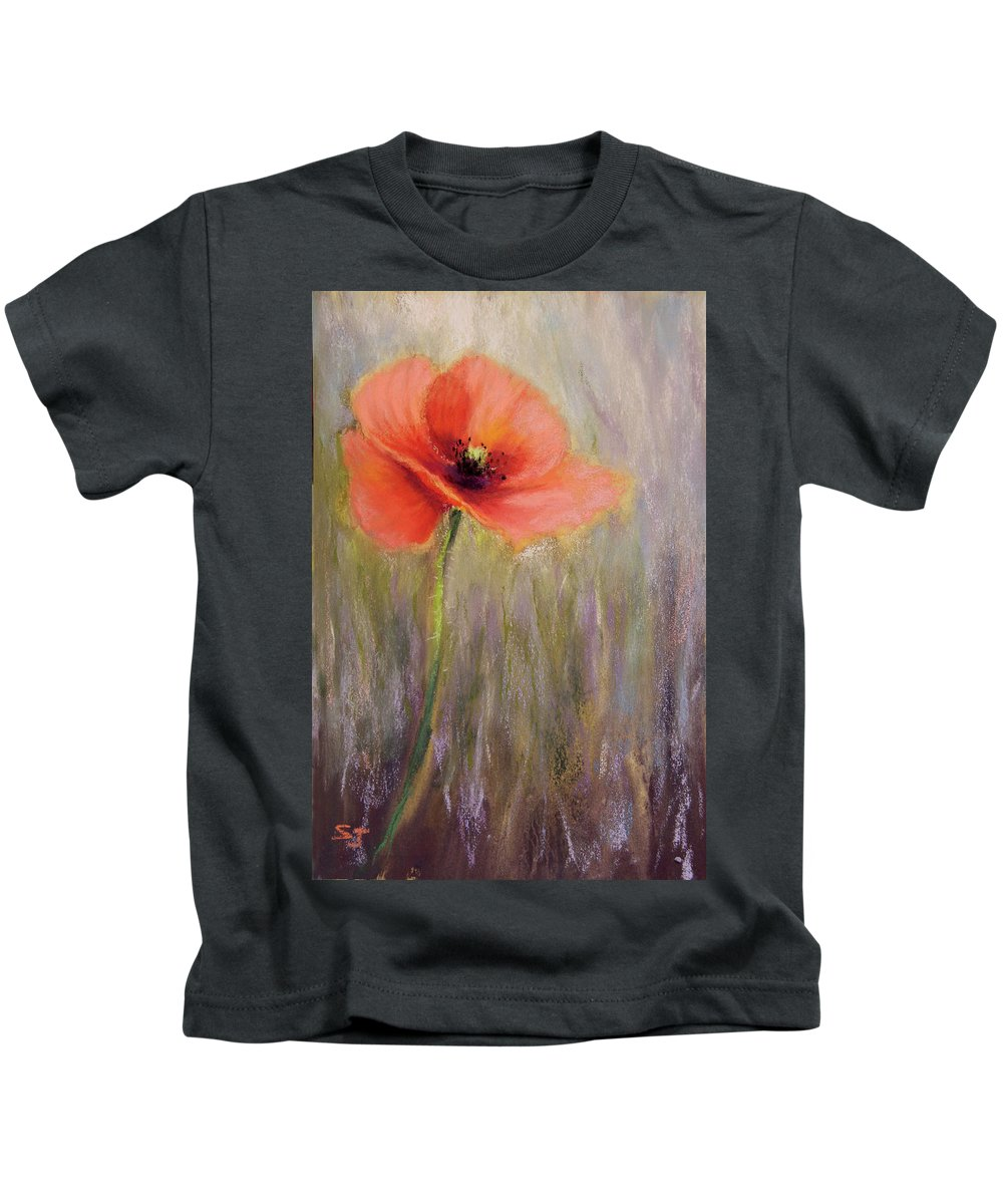 Poppy Flower Kids T-Shirt featuring the painting A Precious Moment by Susan Jenkins