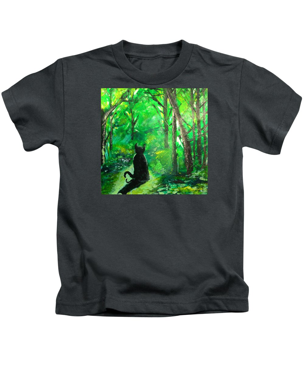 Cat Kids T-Shirt featuring the painting A Purrfect Day by Seth Weaver