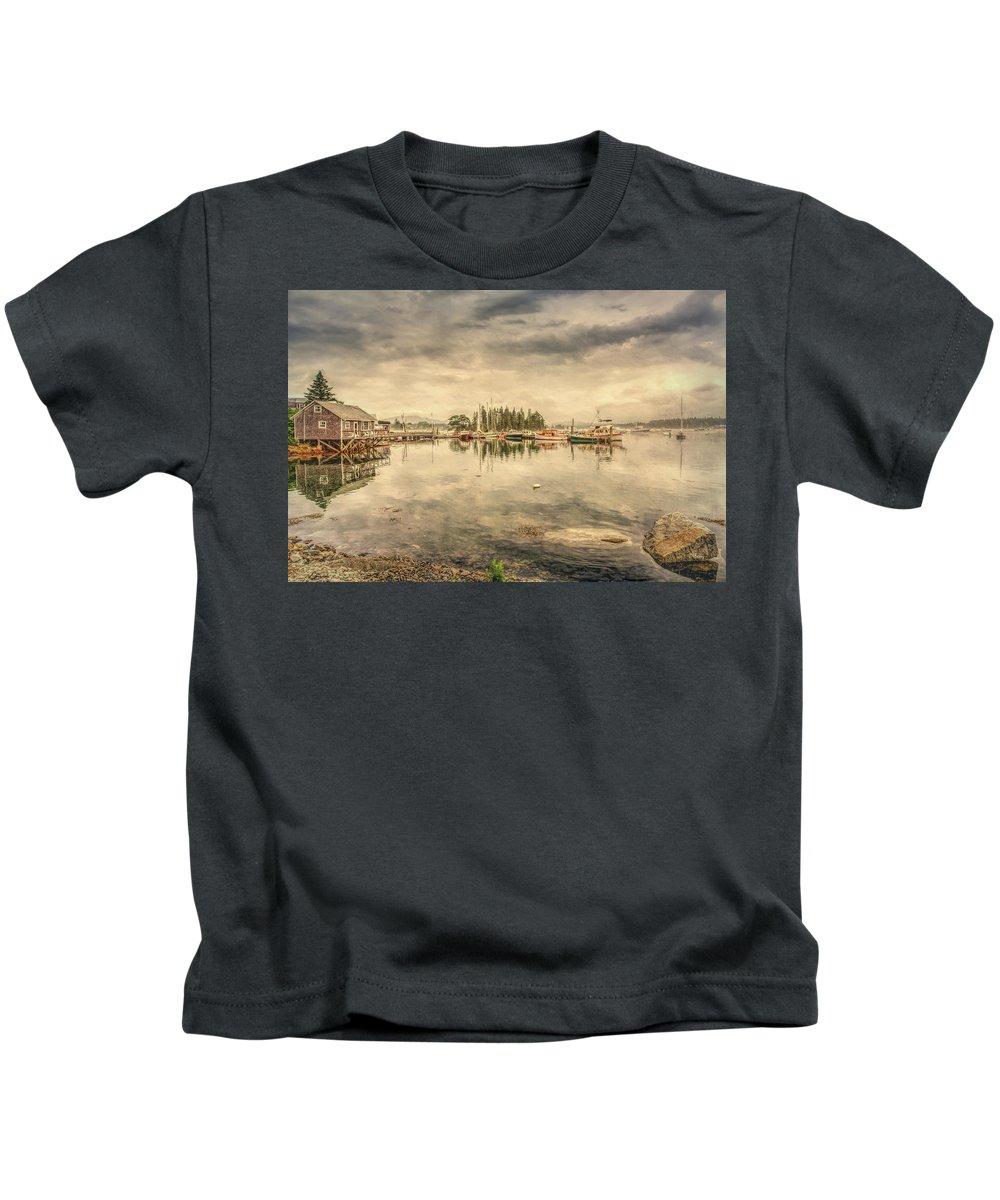 Bass Harbor Kids T-Shirt featuring the photograph A Quiet Little Harbor by John M Bailey