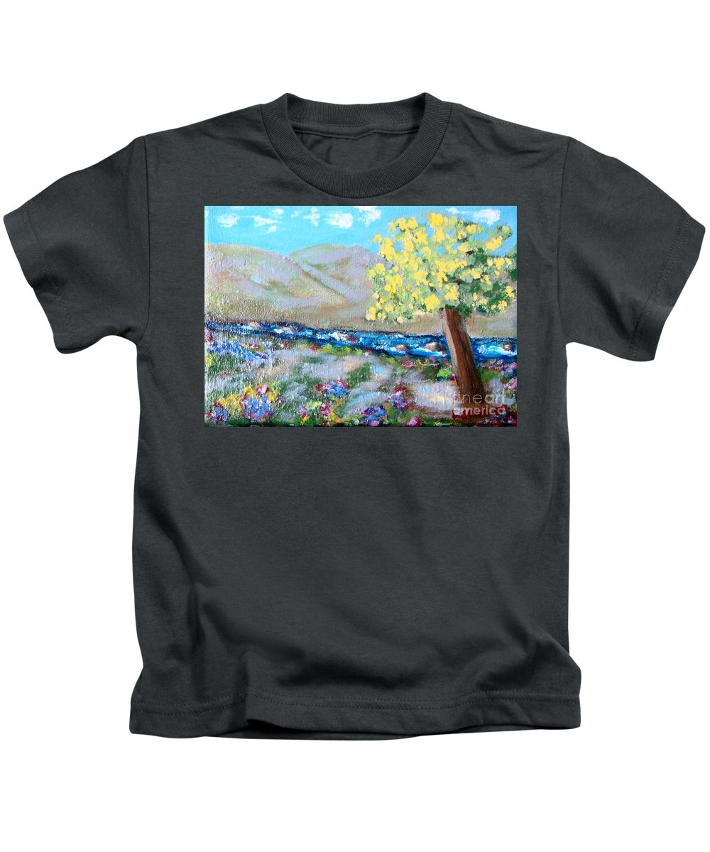 Landscapes Kids T-Shirt featuring the painting A Quiet Place by Laurie Morgan