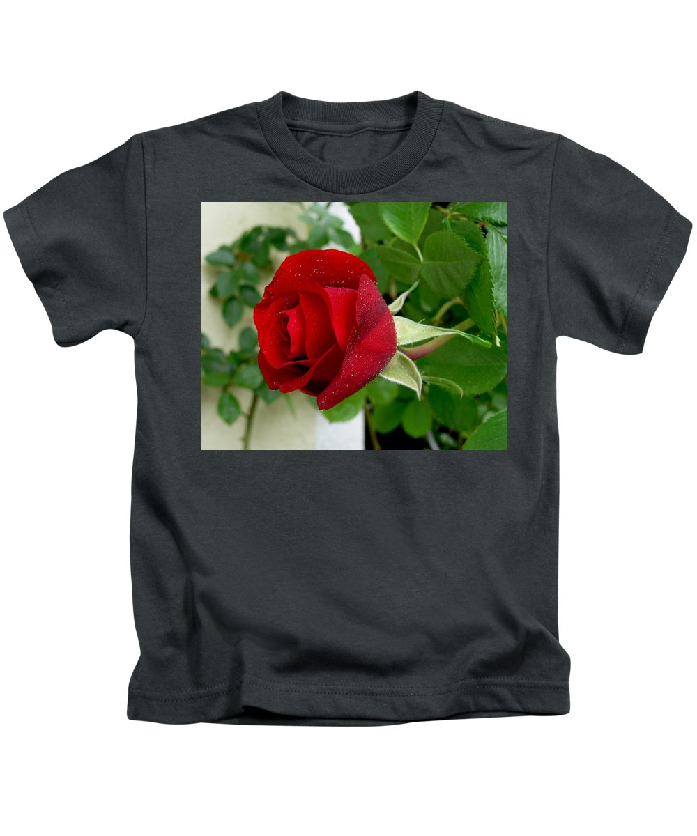 Red Kids T-Shirt featuring the photograph A red rose in the dew of pearls hours by Helmut Rottler