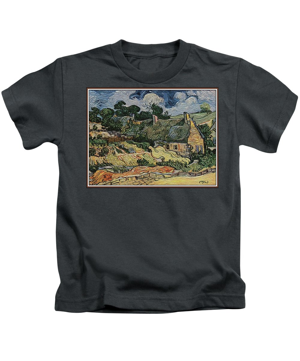 Landscape Kids T-Shirt featuring the digital art a replica of the landscape of Van Gogh by Pemaro