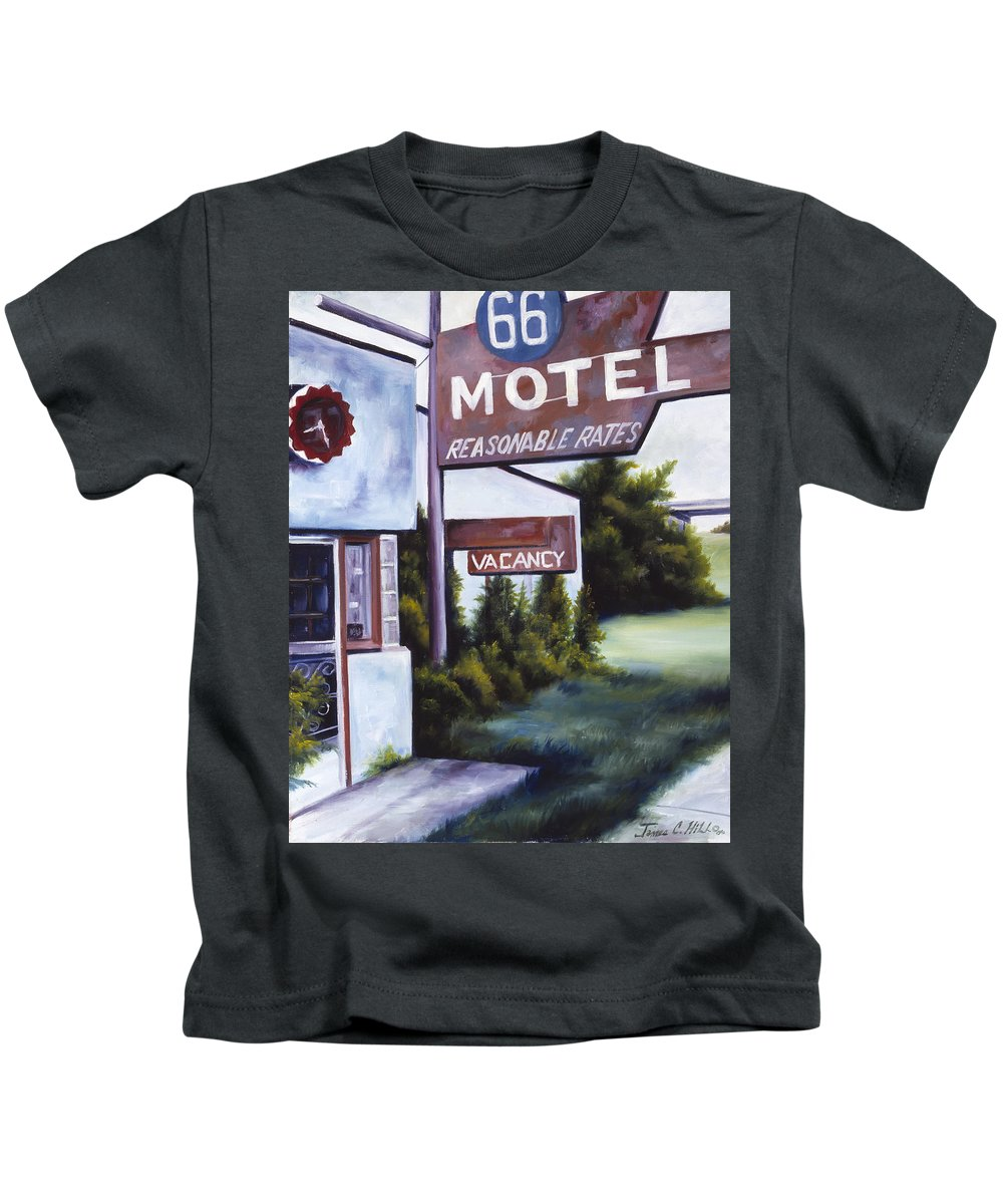 Motel; Route 66; Desert; Abandoned; Delapidated; Lost; Highway; Route 66; Road; Vacancy; Run-down; Building; Old Signage; Nastalgia; Vintage; James Christopher Hill; Jameshillgallery.com; Foliage; Sky; Realism; Oils Kids T-Shirt featuring the painting A Road Less Traveled by James Christopher Hill