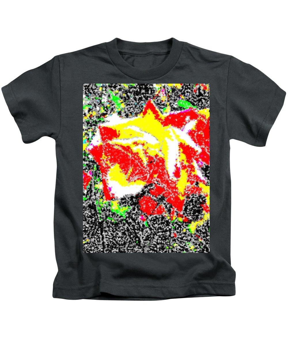 Rose Kids T-Shirt featuring the digital art A Rose Is 2 by Tim Allen