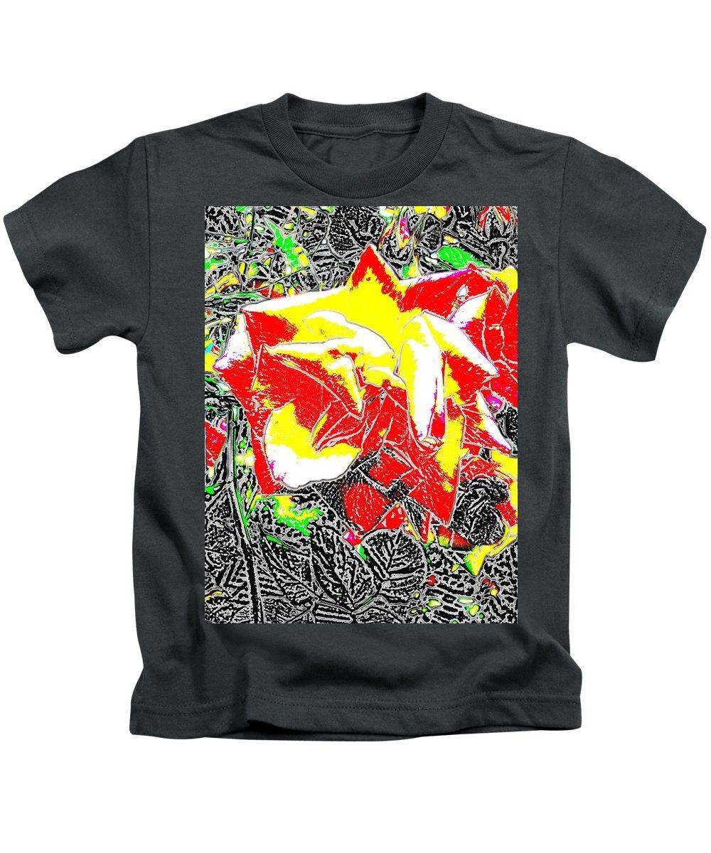 Rose Kids T-Shirt featuring the digital art A Rose Is by Tim Allen