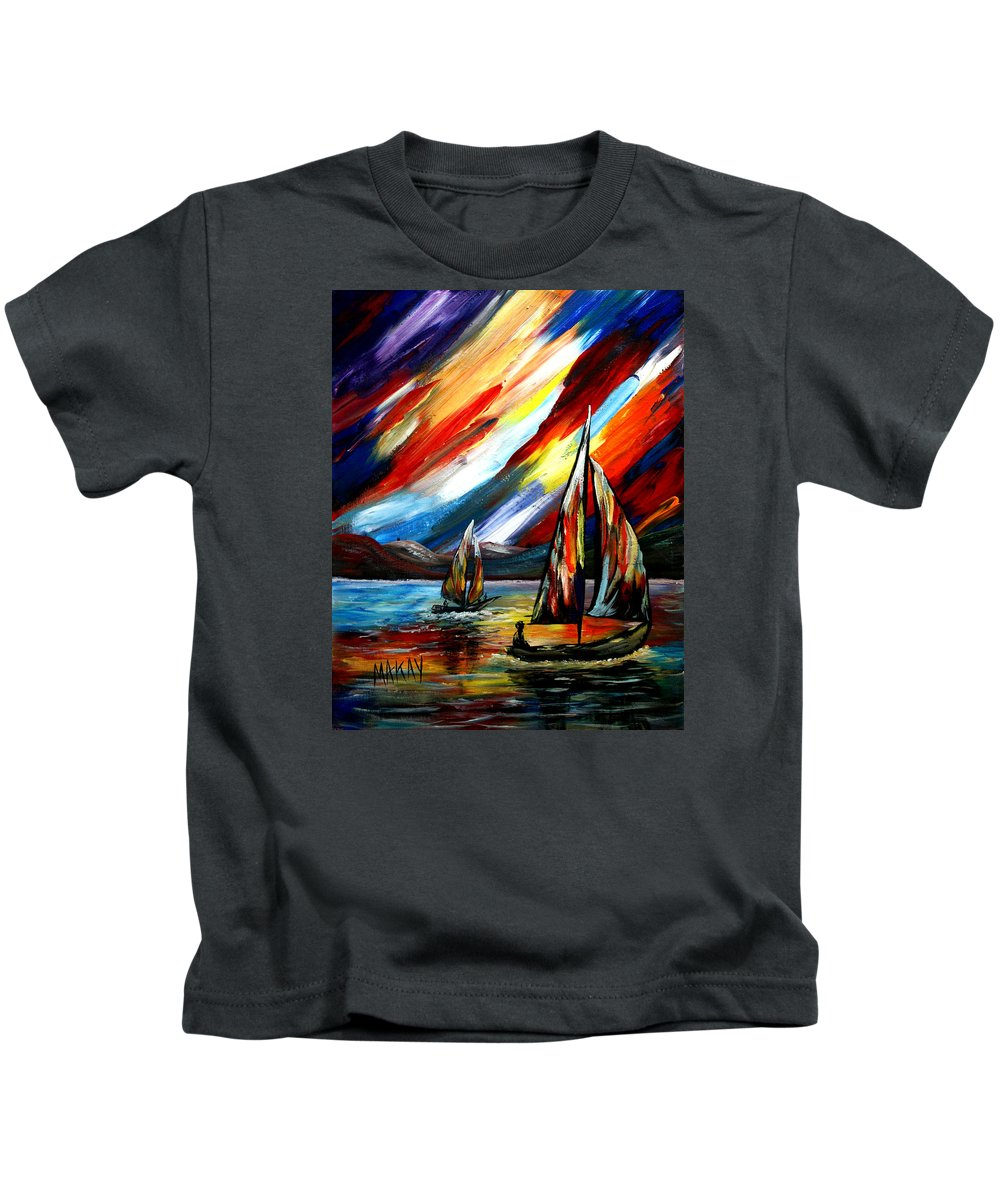 Sailing Kids T-Shirt featuring the painting A Sailing Prism by Maxie Makay