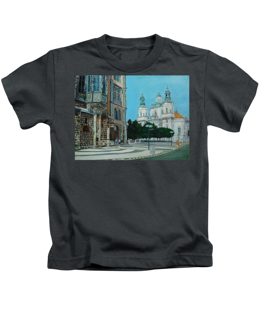 Europe Kids T-Shirt featuring the painting A Scene In Prague by Bryan Bustard