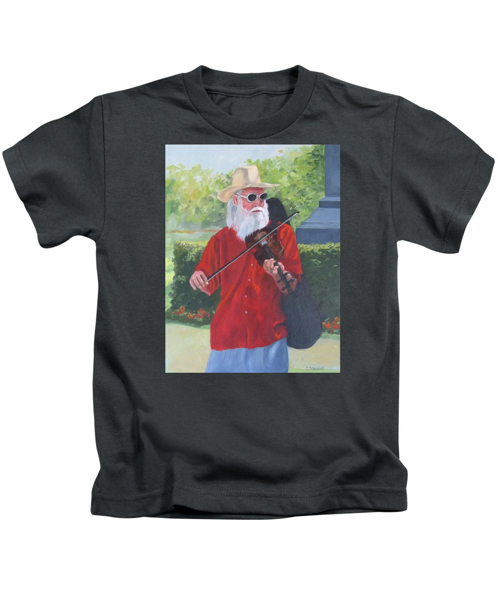 Slim Kids T-Shirt featuring the painting A Slim Fiddler For Peace by Connie Schaertl