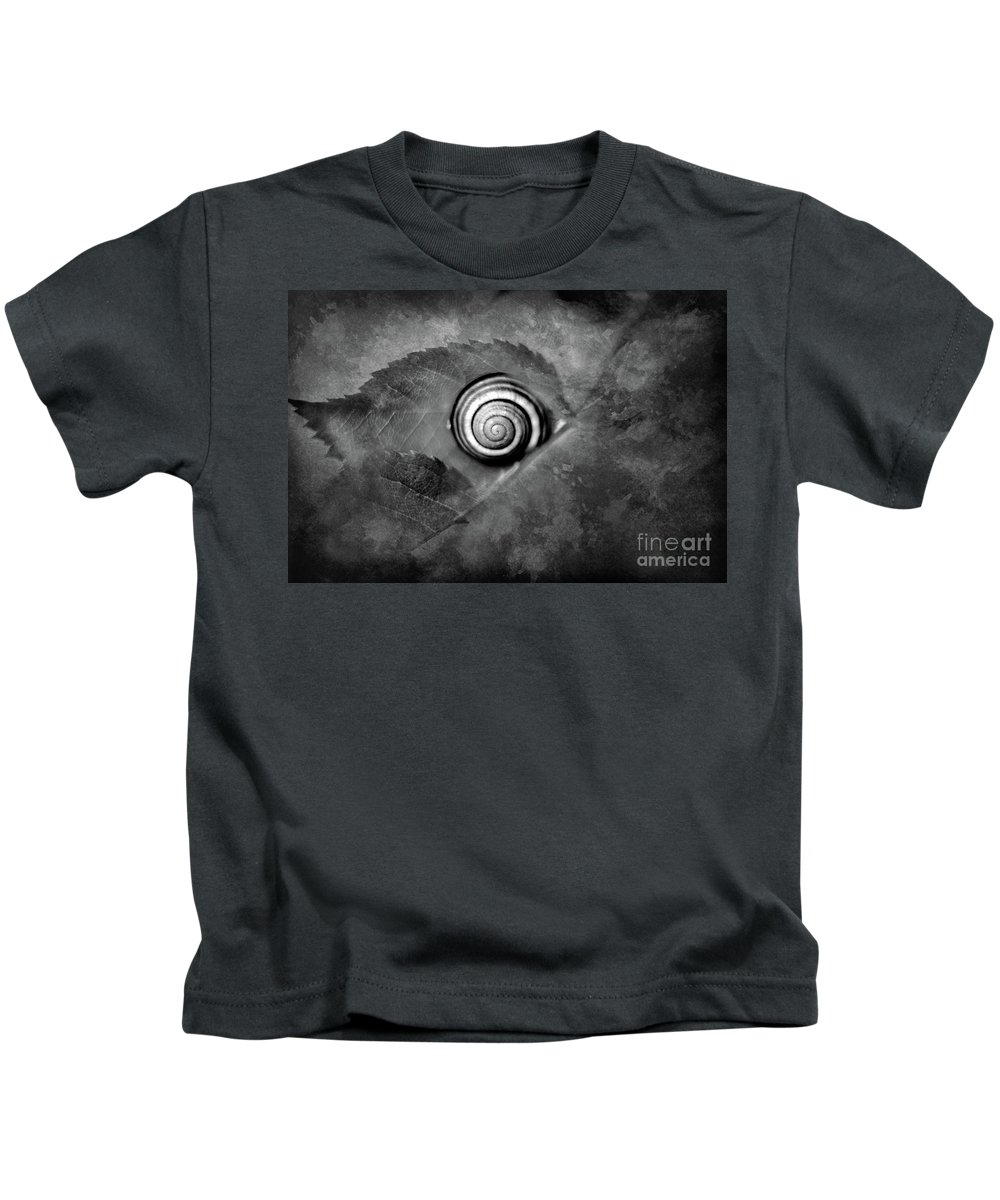 Snail Kids T-Shirt featuring the photograph A Snail On A Leaf by Camelia C