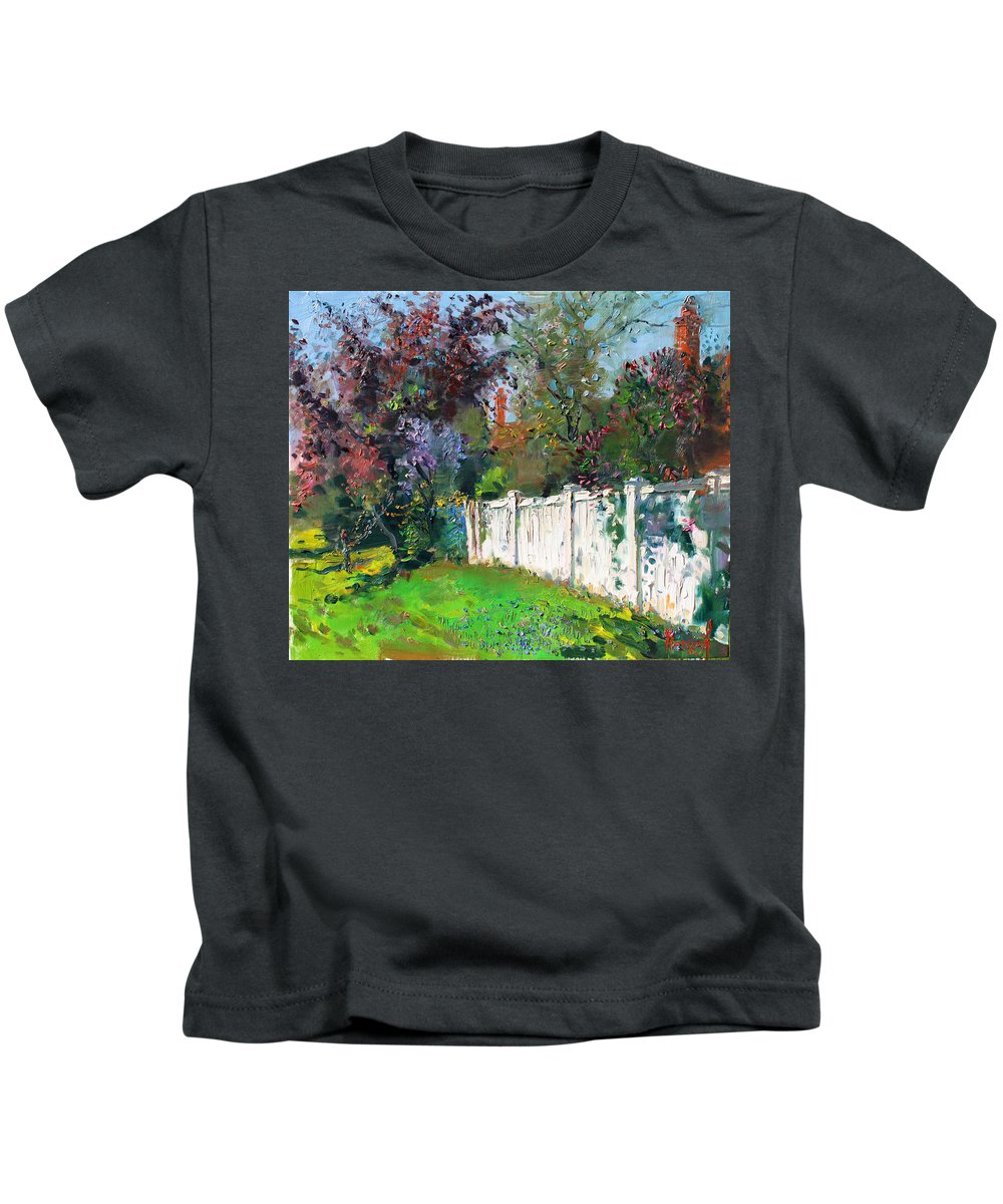 Trees Kids T-Shirt featuring the painting A Sunny Sunday by Ylli Haruni