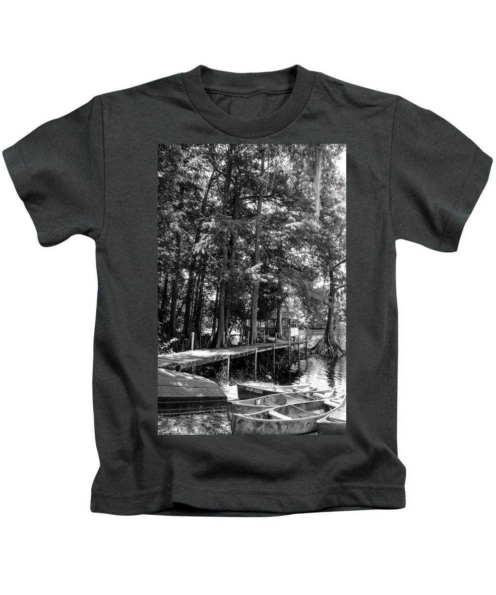 Landscape Kids T-Shirt featuring the photograph A Time To Go Fishing Bw by Norman Johnson