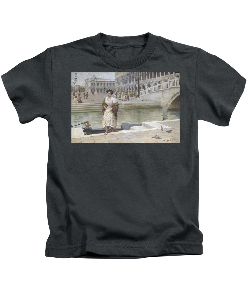 Antonio Ermolao Paoletti A Venetian Beauty Kids T-Shirt featuring the painting A Venetian Beauty by MotionAge Designs