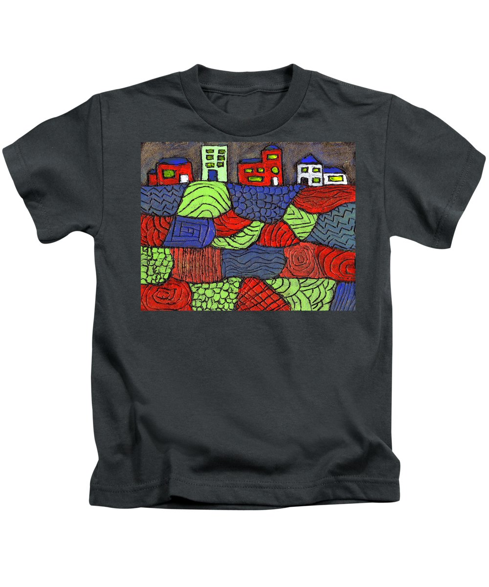 Whimsical Kids T-Shirt featuring the painting A Very Colorful Neighborhood by Wayne Potrafka