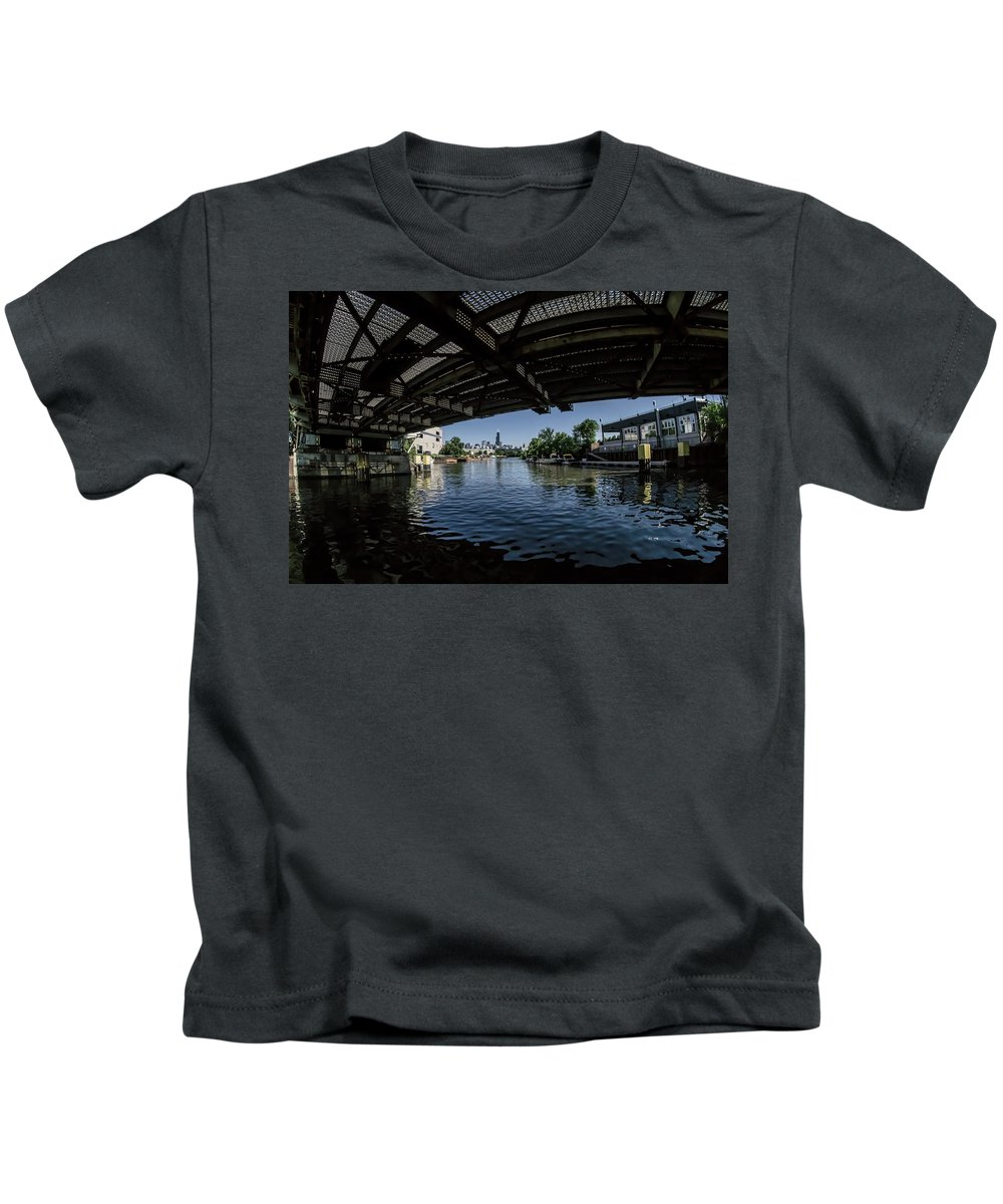 Chicago River Kids T-Shirt featuring the photograph A View Of Chicago From Under The Division Street Bridge by Sven Brogren