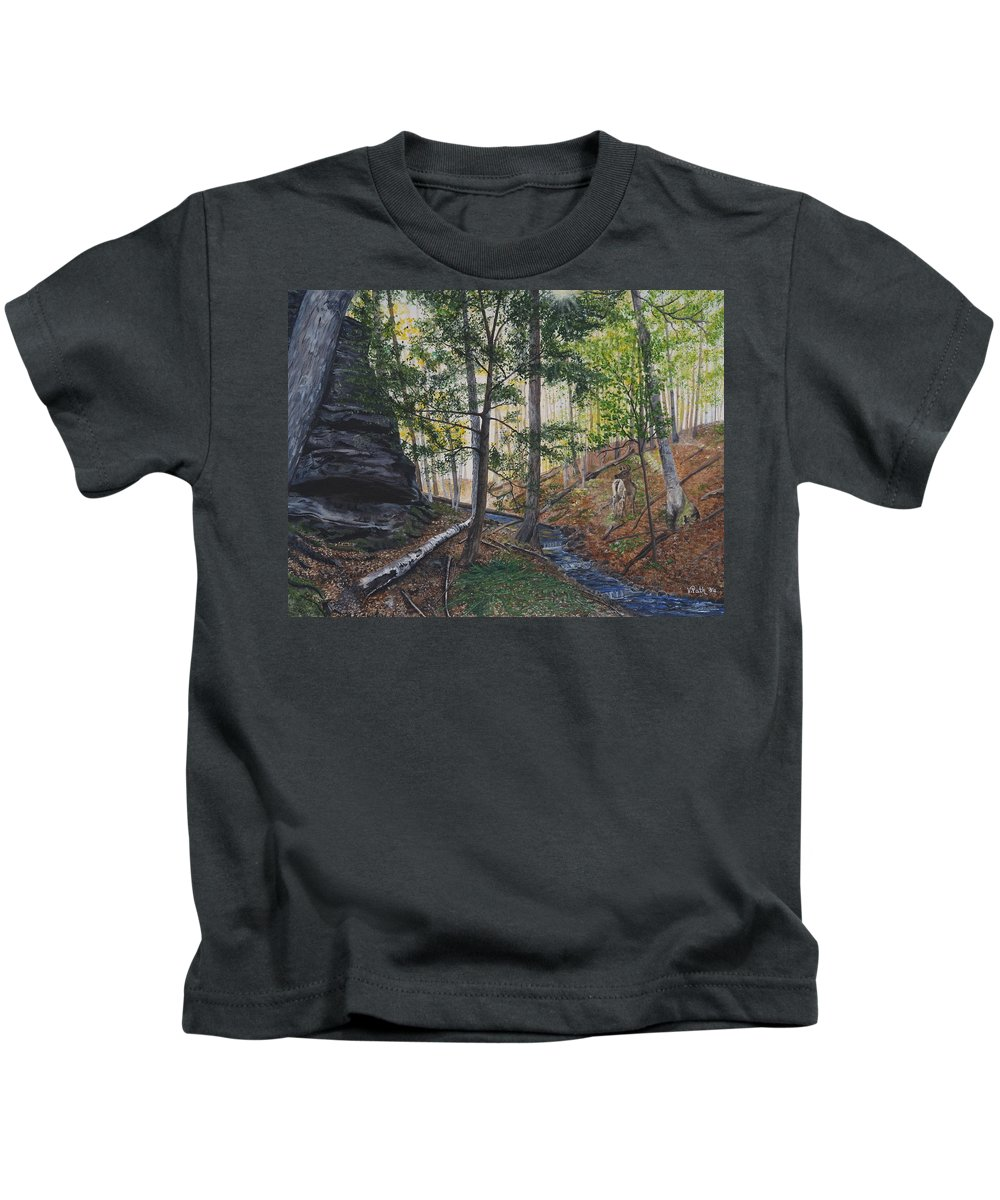 Woods Kids T-Shirt featuring the painting A Walk In The Woods by Vicky Path