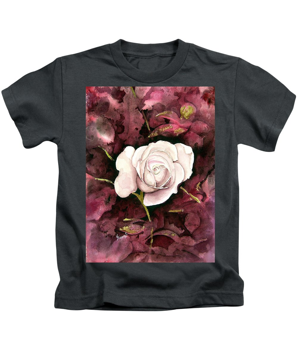 Flower Kids T-Shirt featuring the painting A White Rose by Sam Sidders