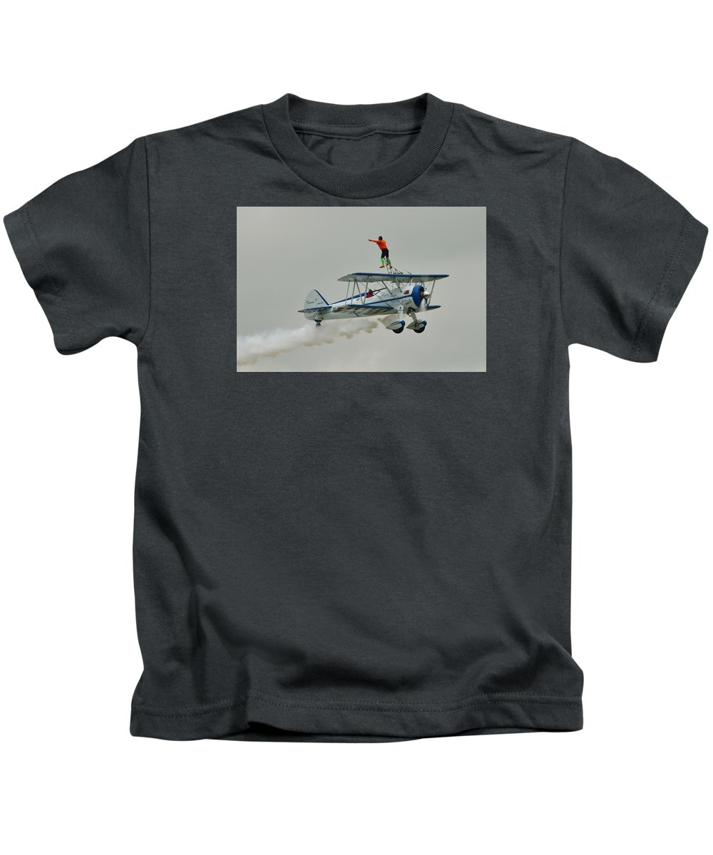 Airplane Kids T-Shirt featuring the photograph A Wing And A Prayer by Robert Coffey