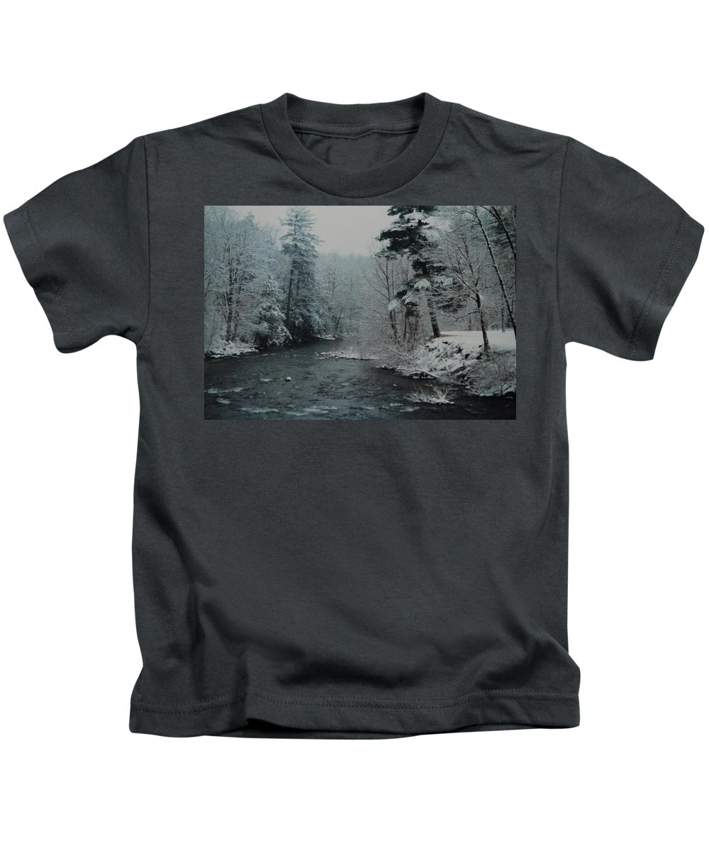 B&w Kids T-Shirt featuring the photograph A Winter Waterland by Rob Hans
