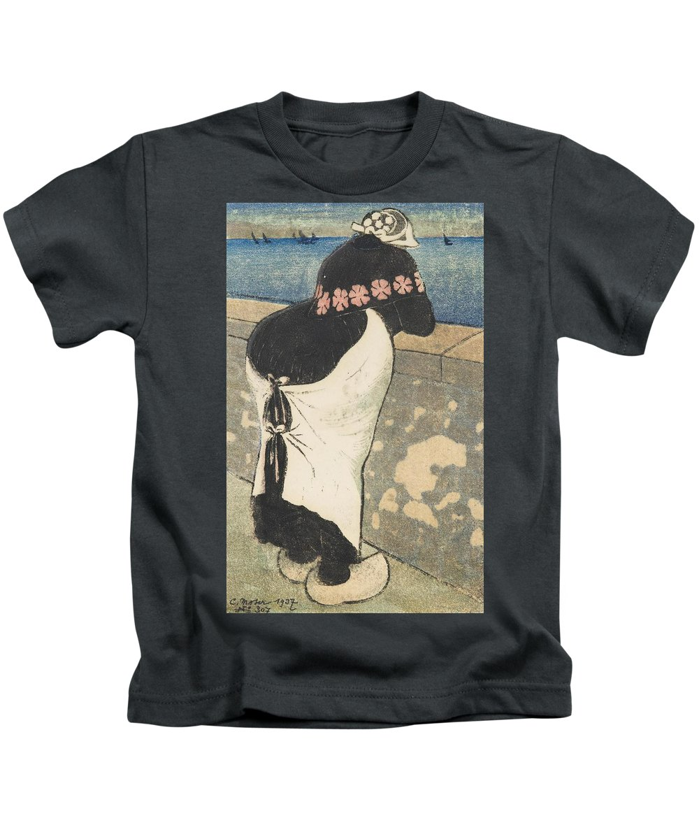 Moser Kids T-Shirt featuring the painting A Women On The Coas by MotionAge Designs