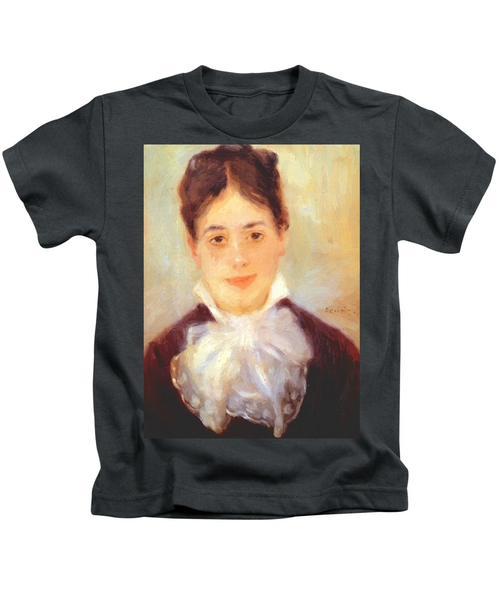 A Kids T-Shirt featuring the painting A Young Woman 1875 by Renoir PierreAuguste