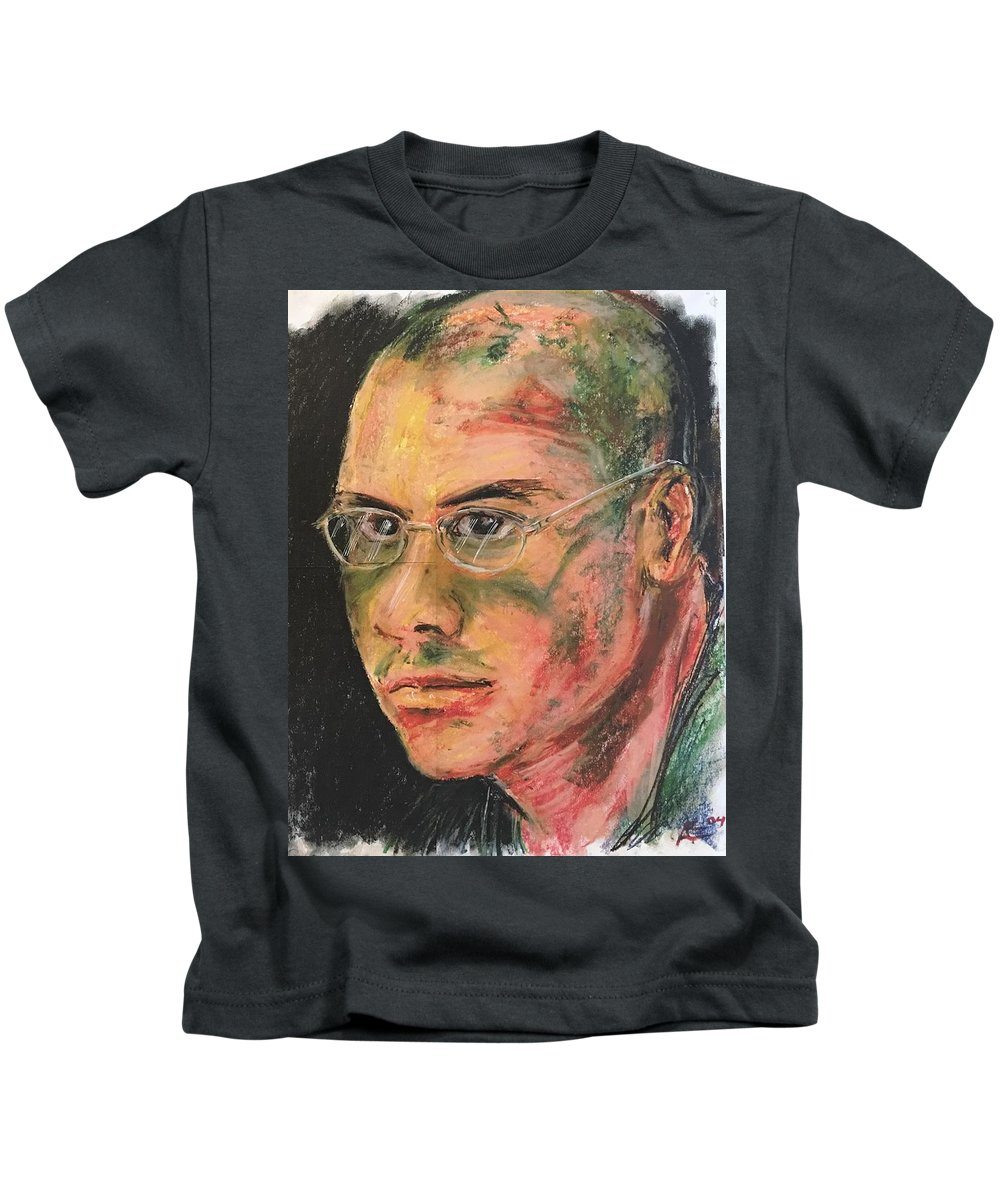 Kids T-Shirt featuring the digital art Aaron With Glasses by Alejandro Lopez-Tasso