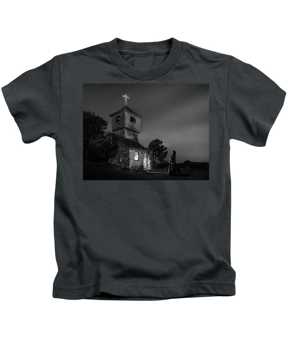 Abandoned Kids T-Shirt featuring the photograph Abandoned Church At Night. Mysterious Nun by Peter Hayward Photographer