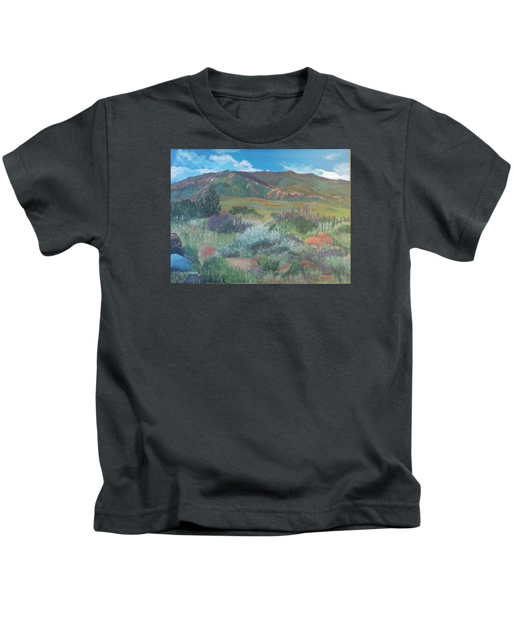 Wyoming Mountains Kids T-Shirt featuring the painting Absoraka by Robert Levene