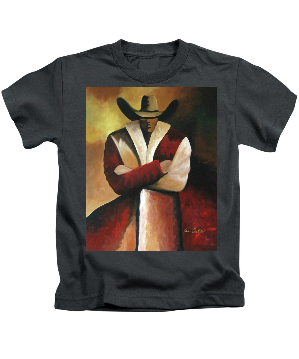 Kids T-Shirt featuring the painting Abstract Cowboy by Lance Headlee