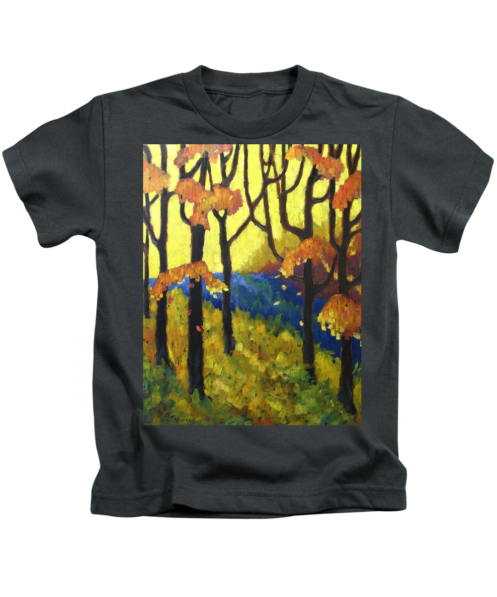 Art Kids T-Shirt featuring the painting Abstract Forest by Richard T Pranke