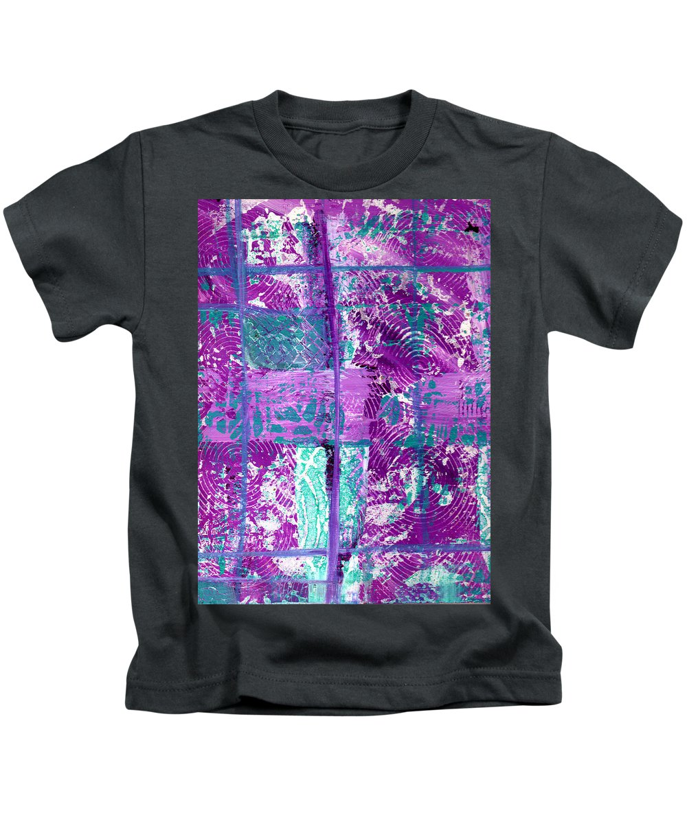 Abstract Kids T-Shirt featuring the painting Abstract In Purple And Teal by Wayne Potrafka
