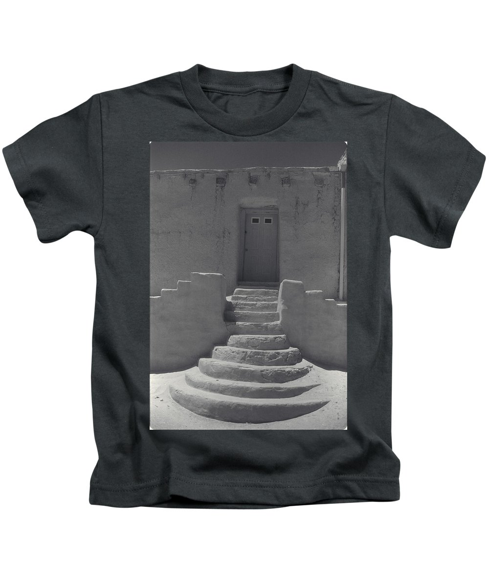 Acoma Kids T-Shirt featuring the photograph Acoma Steps by Jerry McElroy