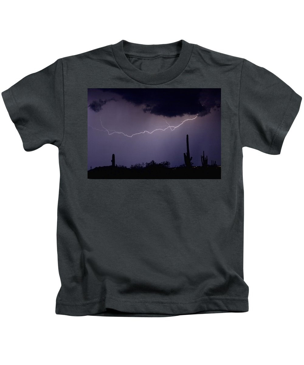 Lightning Kids T-Shirt featuring the photograph Across The Desert by James BO Insogna