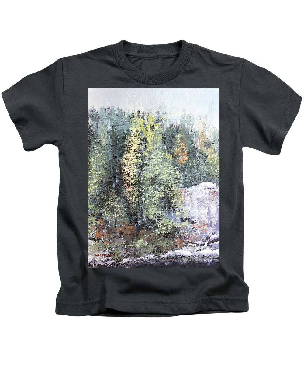 Landscape Kids T-Shirt featuring the painting Across The Ravine by Todd Blanchard