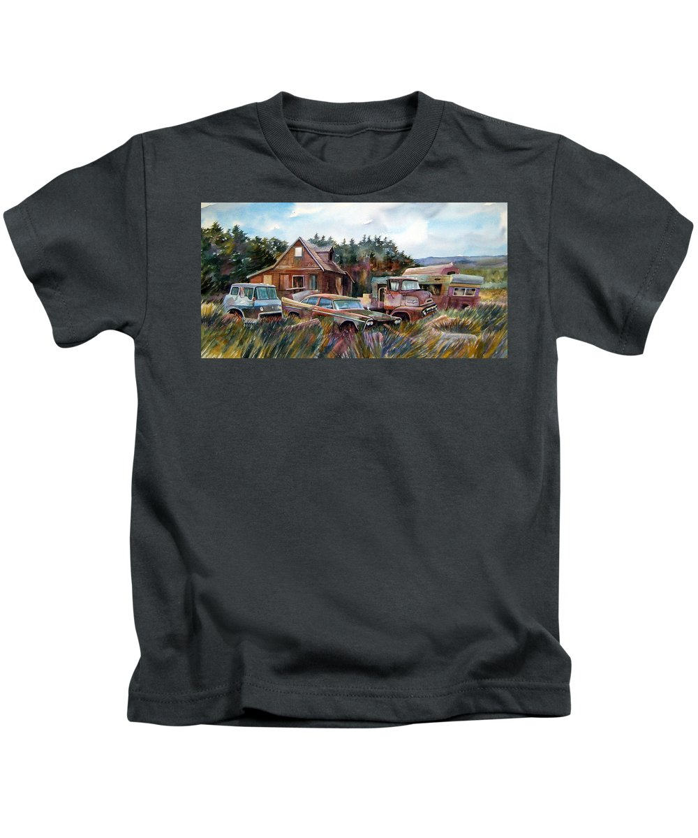 Cars Kids T-Shirt featuring the painting Across The Road And Gone by Ron Morrison