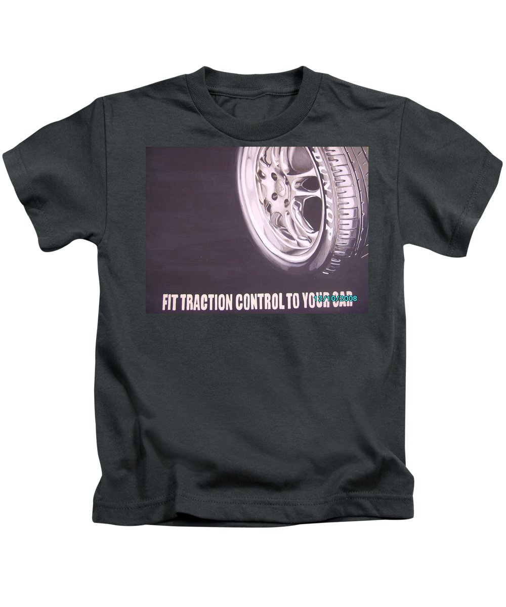 Wheel Kids T-Shirt featuring the digital art Adverts On Tyres by Olaoluwa Smith