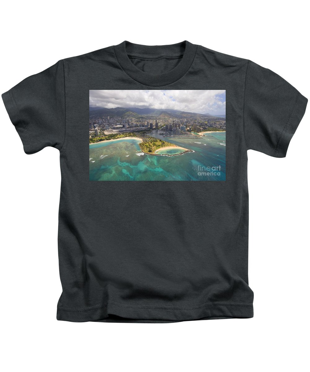 Above Kids T-Shirt featuring the photograph Aerial Of Magic Island by Ron Dahlquist - Printscapes