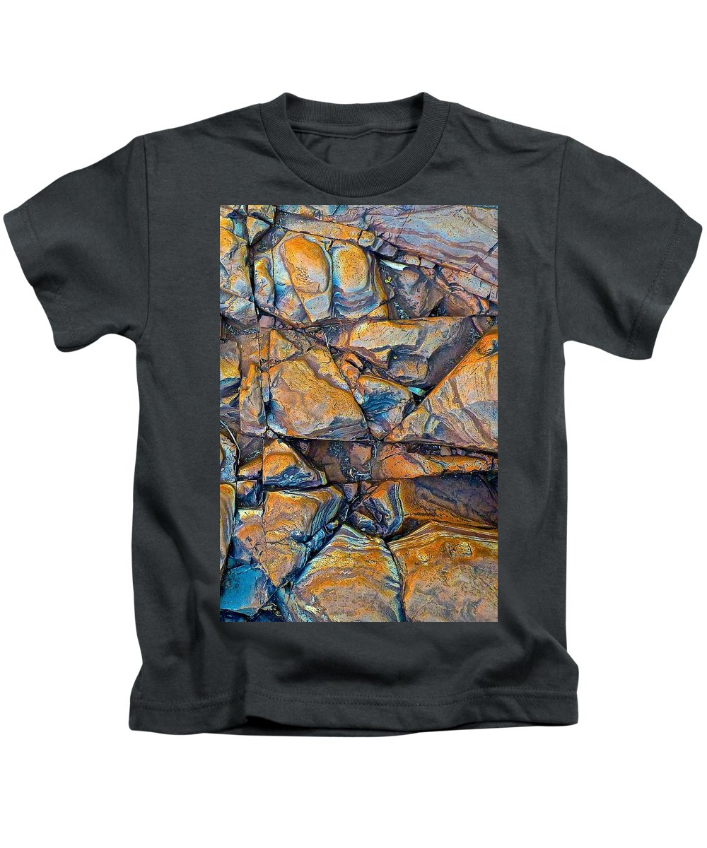 Rock Kids T-Shirt featuring the photograph Aerial Rock Abstract by Nicola Morgan