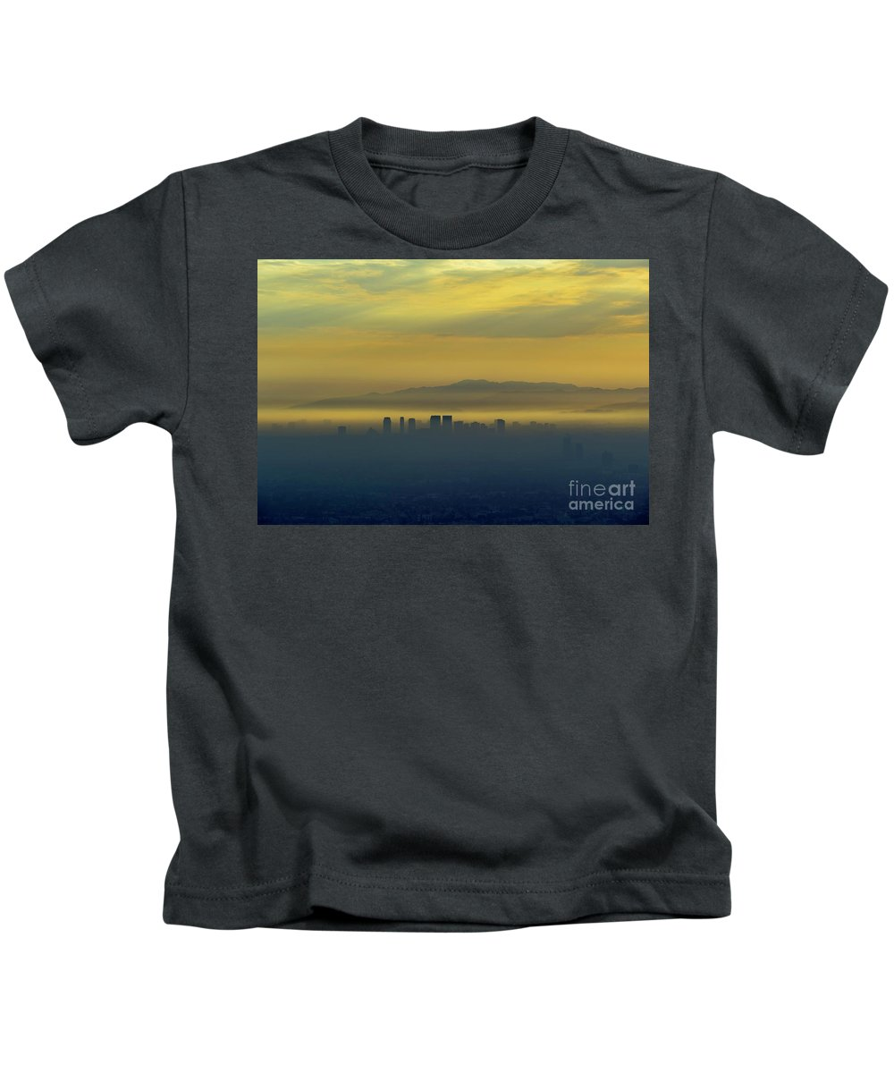 Los Angeles Kids T-Shirt featuring the photograph Aerial View Of Westwood Downtown At Sunset by Chon Kit Leong