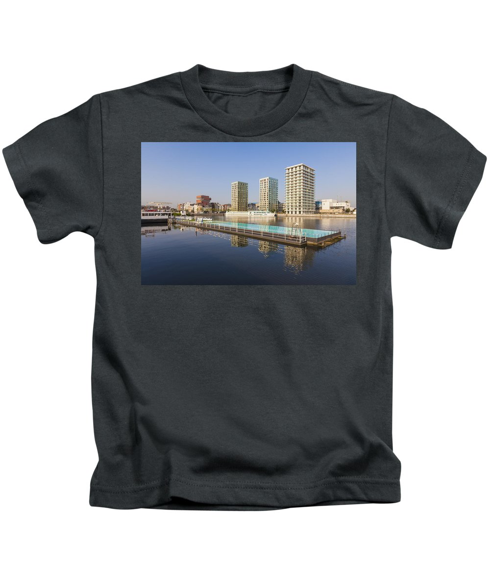 Modern Kids T-Shirt featuring the photograph Afloat Swimming Pool by Werner Dieterich