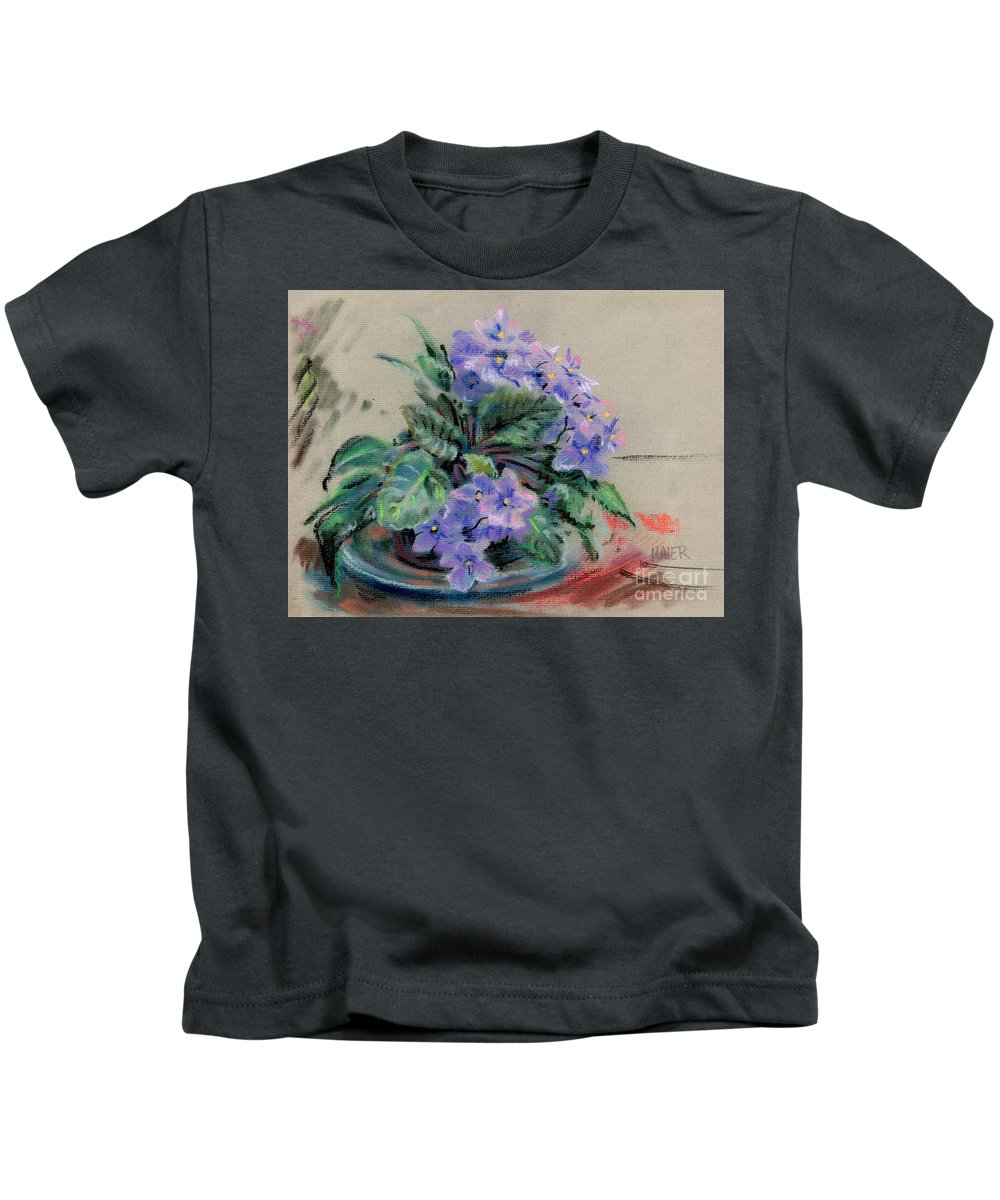 African Violets Kids T-Shirt featuring the drawing African Violet by Donald Maier