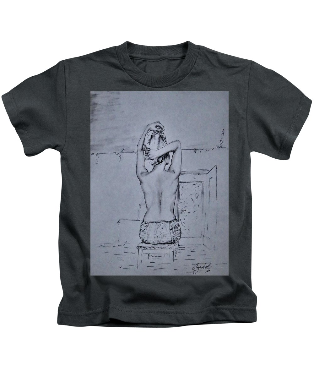 Portret Kids T-Shirt featuring the drawing After The Bath by Grigorita Martina