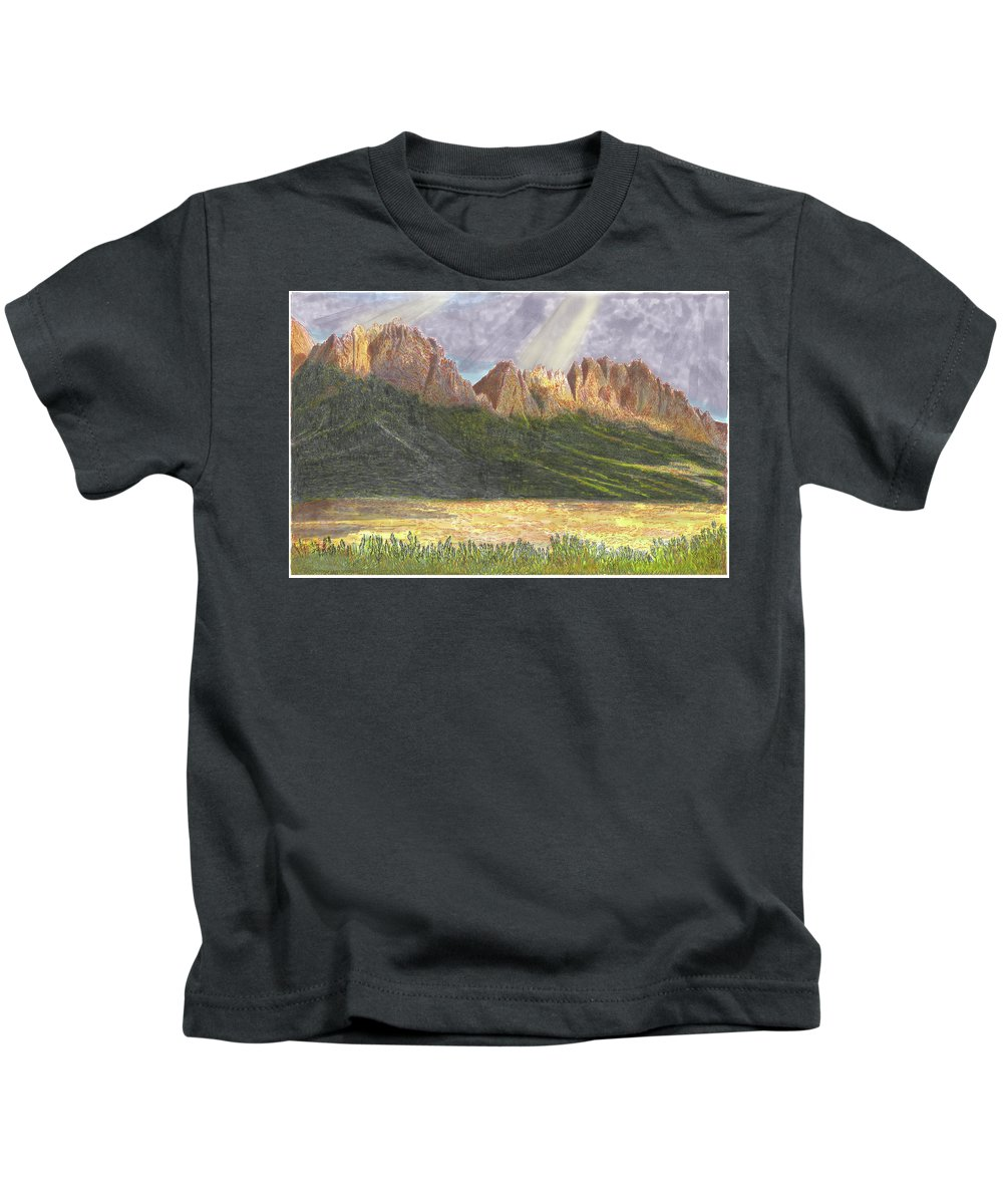 Jacks Watercolor Painting Of The Organ Mountains After A Heavy Rain Kids T-Shirt featuring the painting After The Monsoon Organ Mountains by Jack Pumphrey