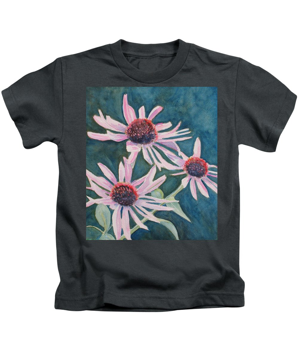 Coneflowers Kids T-Shirt featuring the painting Afterglow II by Jenny Armitage