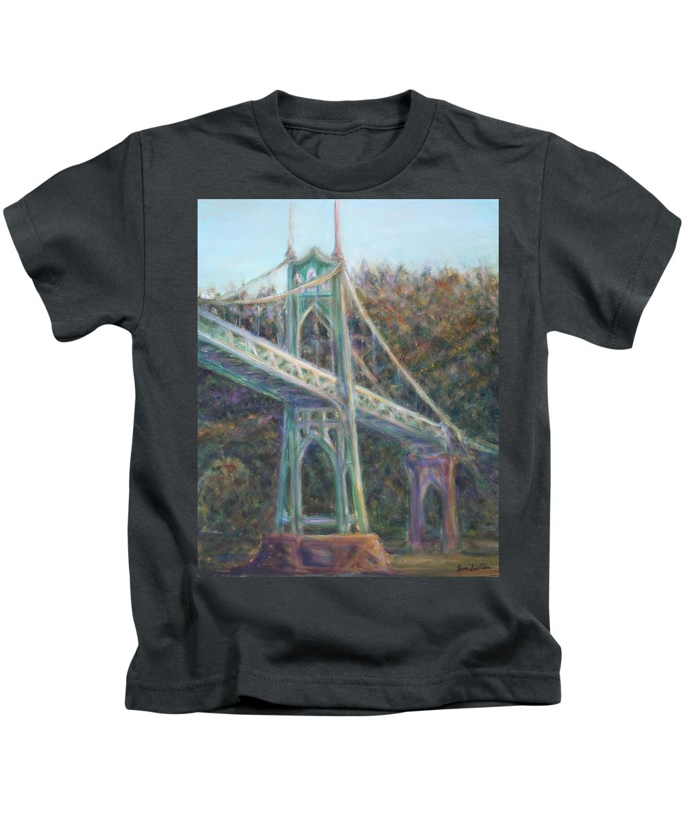 Quin Sweetman Kids T-Shirt featuring the painting Afternoon Glow On The St Johns by Quin Sweetman