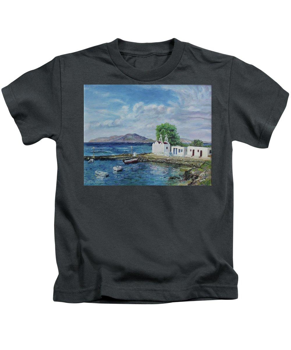 Greece Mykonos Oil Lanspdscape Travel Blue Water Helenramsay Kids T-Shirt featuring the painting Agios Ioannis Beach, Mykonos Greece by Helen Ramsay