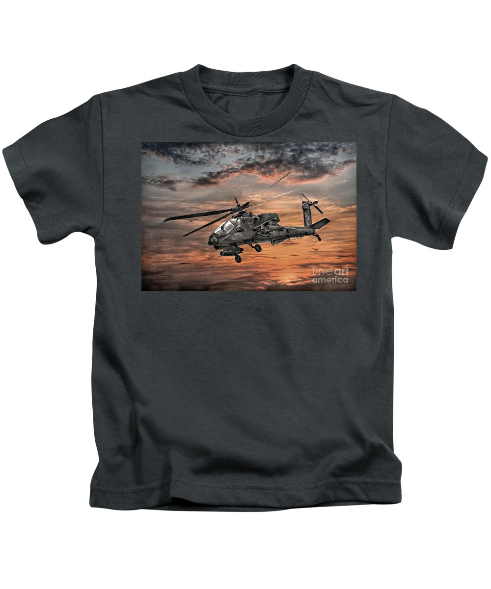 U.s. Army Kids T-Shirt featuring the digital art Ah-64 Apache Attack Helicopter by Randy Steele